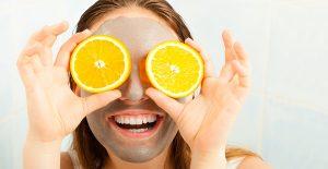 Citroner, mask, tjej