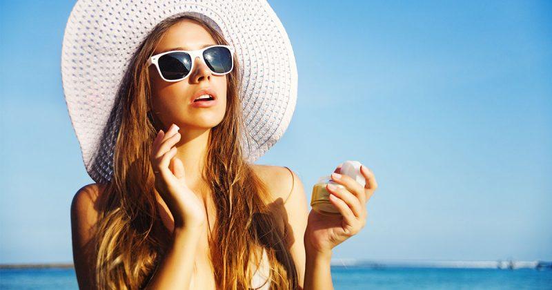 Solbränna, strand, sol, kvinna