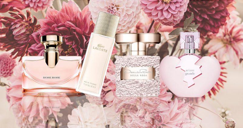 Rosa parfymer, rosa blommor